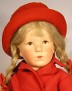 Käthe Kruse Puppe VIII aus den 30er Jahren in Originalkleidung mit Jacke und Hut